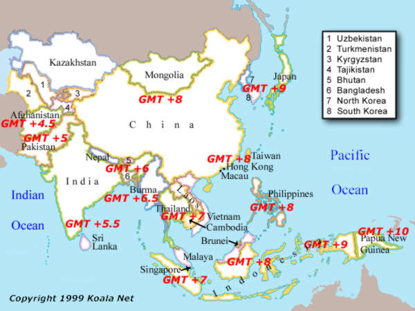 Map Of Asia Over Time.World Time Zone Map Asia
