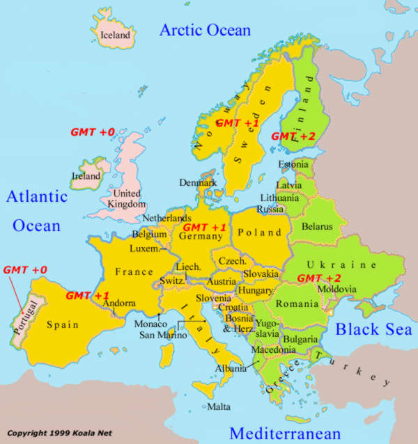 World Time Zone Map Europe