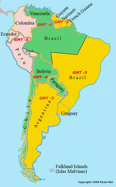 Map Of South America Time Zones.World Time Zone Map South America